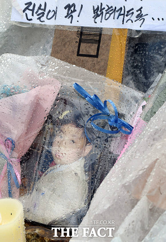 고 손정민 군을 위한 평화집회가 16일 오후 서울 반포한강공원 수상택시 승강장에서 열린 가운데 고인의 어린시절 사진 위로 비가 내리고 있다./임영무 기자