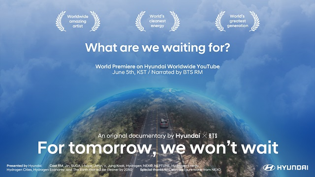 3일 공개된 공개된 방탄소년단 출연 다큐멘터리 예고편은 For tomorrow We won't wait라는 주제로 변화를 기다리지 말고 지구를 지키려는 실천과 노력이 더 중요하다는 메시지를 담았다. /현대차 제공