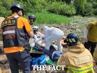 한강 장항습지 지뢰 추정 폭발…50대 남성 발목 절단