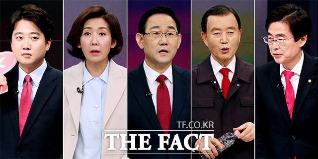 국민의힘 당대표에 출마한 이준석, 나경원, 주호영, 홍문표, 조경태(왼쪽부터)