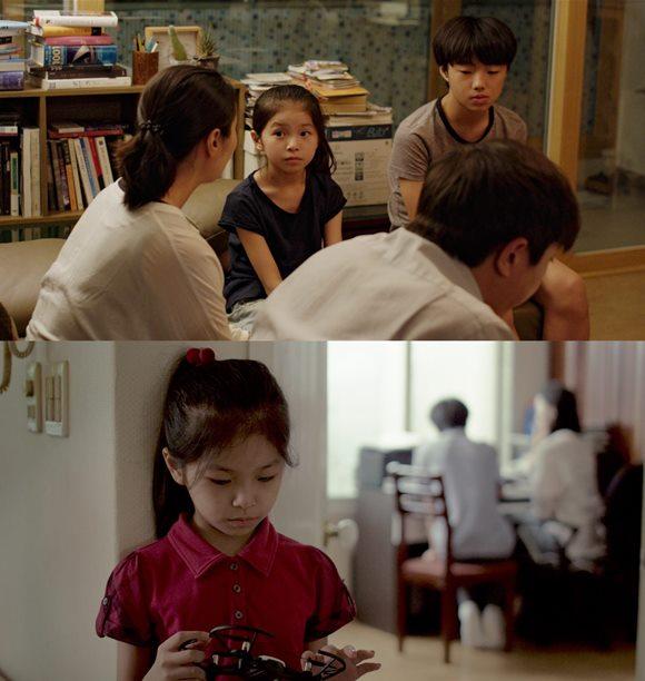 영화 흩어진 밤은 부모님이 이혼을 결심한 후 엄마 아빠 그리고 오빠 진호까지, 네 가족이 더는 함께 살지 못하는 것을 알게 된 막내 수민의 일상을 통해 가족의 해체를 바라보는 아이의 심리를 세심하게 포착한 작품이다. /영화 스틸컷
