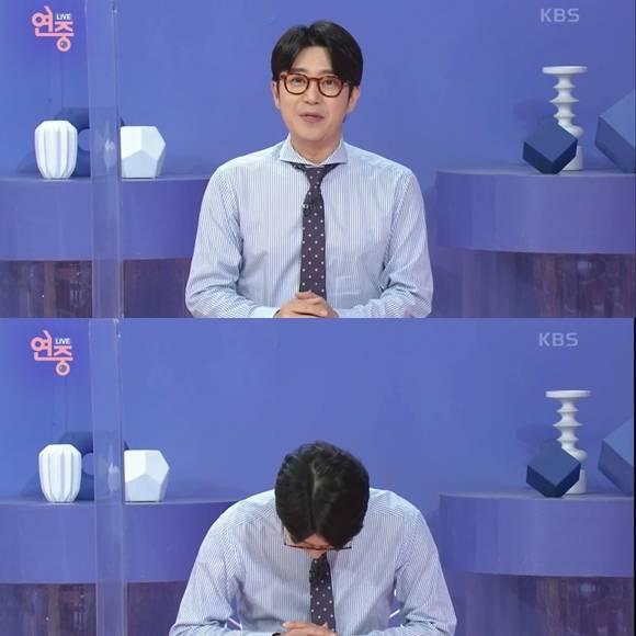 KBS가 방송인 김태진의 하차 청원과 관련한 공식 입장을 밝혔다. KBS는 과장되고 거친 발언했지만 하차할 사안은 아니다고 밝혔다. /KBS 연중 라이브 방송화면 캡처
