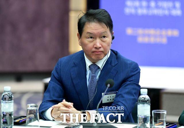 SK그룹이 최태원 회장과 주요 계열사 CEO들이 참석한 가운데 22일 오전 9시부터 SK 확대경영회의를 진행하고 있다. /더팩트 DB