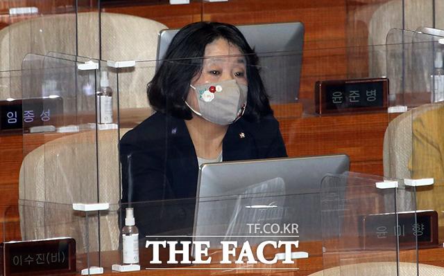 부동산 투기 의혹으로 당에서 제명된 후 본회의장에 출석한 윤미향 의원