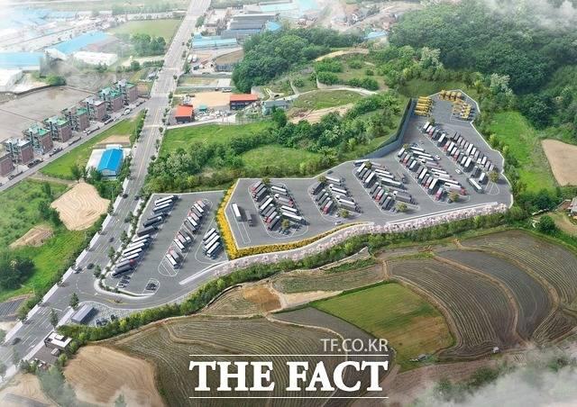 경기 동두천시는 내년 6월까지 135억원을 들여 대형자동차 공영주차장을 조성키로 했다. 상패동 일대에 들어설 대형자동차 공영주차장 조감도./동두천시 제공