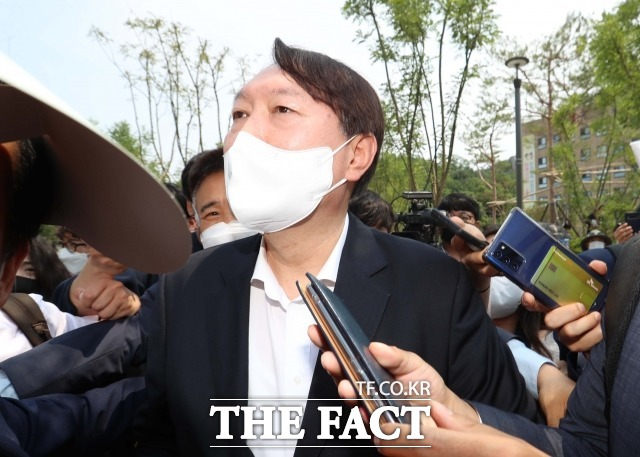 지난 6월 9일 우당 이희영 기념관 개관식에 참석한 윤석열 전 검찰총장./더팩트 DB