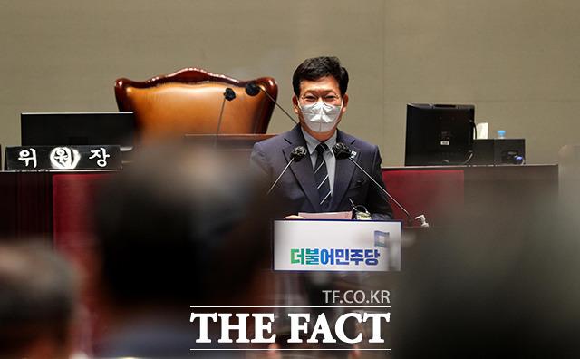 송영길 더불어민주당 대표가 22일 오전 서울 여의도 국회에서 열린 의원총회에서 모두발언을 하고 있다. /국회=이선화 기자