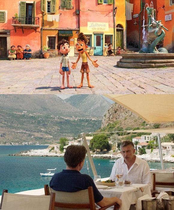 영화 루카(위)는 이탈리아에서 유년 시절을 보낸 엔리코 카사로사 감독의 경험을 바탕으로 이탈리아의 대표적인 관광지인 리비에라의 친퀘 테레를 영화 속에 고스란히 옮겨왔다. 트립 투 그리스는 그리스를 배경으로 펼쳐지는 미식 여행기다. /영화 스틸컷