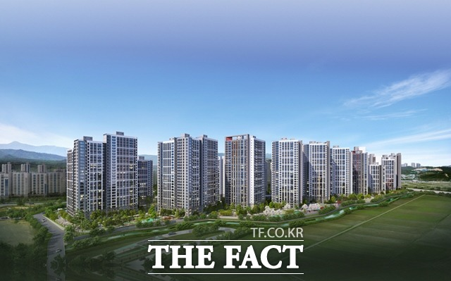 현대건설이 25일 포항 힐스테이트 초곡 견본주택을 공개하고 본격적인 분양에 들어간다. 조감도/현대건설 제공