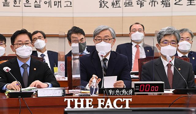 지난달 18일 국회에서 열린 법제사법위원회 전체회의에서 당시 최재형 감사원장이 의원들의 질의에 답하는 모습. /이선화 기자
