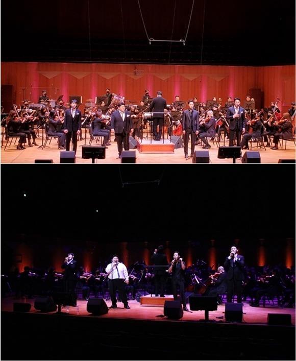 크로스 오버 그룹 에델 라인클랑이 지난 4일 서울 예술의전당 콘서트홀에서 단독콘서트를 개최하고 감동의 하모니를 선사했다. /아츠로이엔티 제공