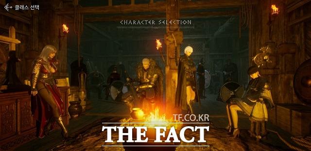 오딘의 기본 직업(클래스)은 소서리스, 워리어, 로그, 프리스트 4종이다. 사진은 직업 선택 화면 /게임 캡처