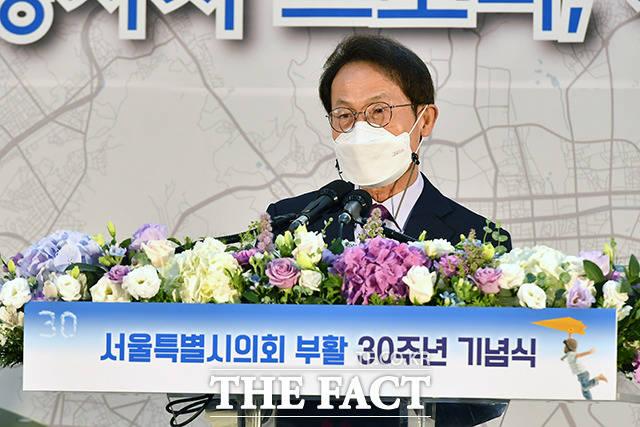조희연 서울시교육감이 축사를 하고 있다.