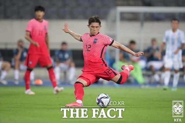 아르헨티나 골문을 직격한 폭발적인 이동경의 왼발 슛./용인=KFA