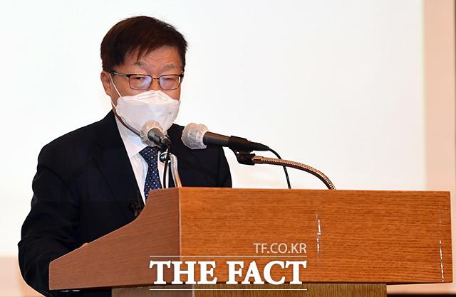 김영주 2030부산세계박람회 유치위원장이 인사말을 하고 있다.