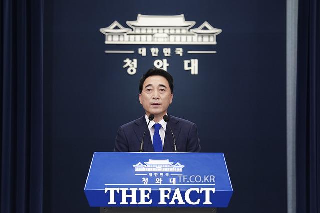박수현 청와대 국민소통수석은 28일 남북 간 통신 연락선 복원과 관련해 방역협조, 민생지원, 폭파된 남북공동연락사무소 재건 등 많은 문제를 논의하고 협의해 나갈 것이라고 밝혔다. /청와대 제공