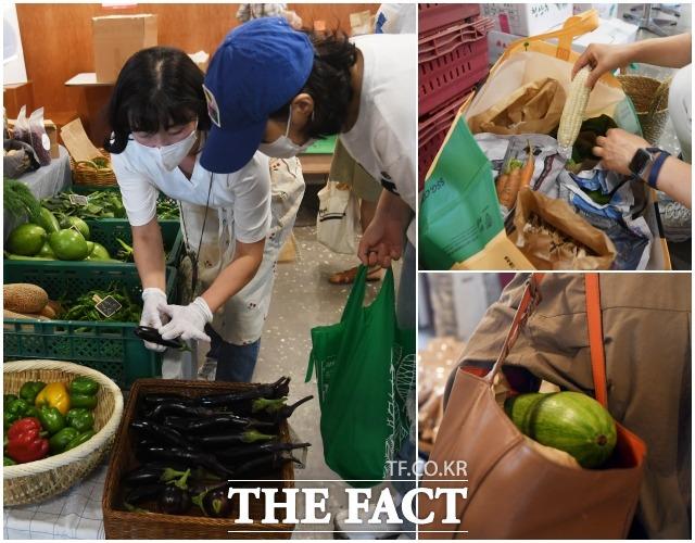 코로나 4단계 격상 이후인 17일 서울 서교동에서 열린 마르쉐 채소시장에는 5곳의 생산자만이 참여했지만, 오전 개장과 동시에 SNS에서 소식을 접한 많은 소비자들이 장바구니를 들고 장터를 찾았다.