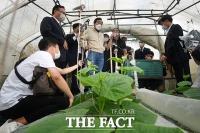 '가을 장마'에 침수 비닐하우스 재방문한 이낙연 [TF사진관]