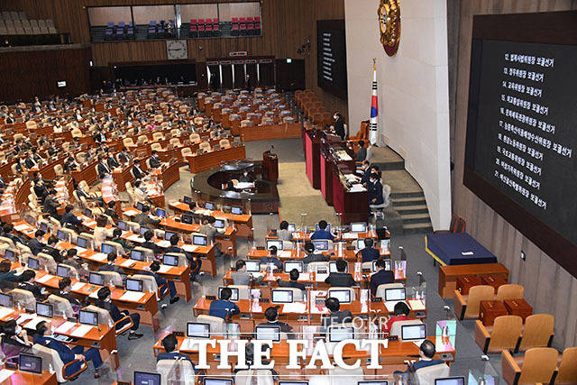 31일 국회 본회의장에서 박병석 국회의장이 10개 상임위원회의 하반기 위원장 선임의 건을 상정하고 있다.