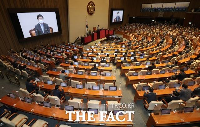 8월에 발의된 의원법안들 가운데 동물복지법과 평등법이 눈에 띈다. 박병석 국회의장이 1일 정기국회 개회식에서 개회사 하는 모습. /국회=남윤호 기자