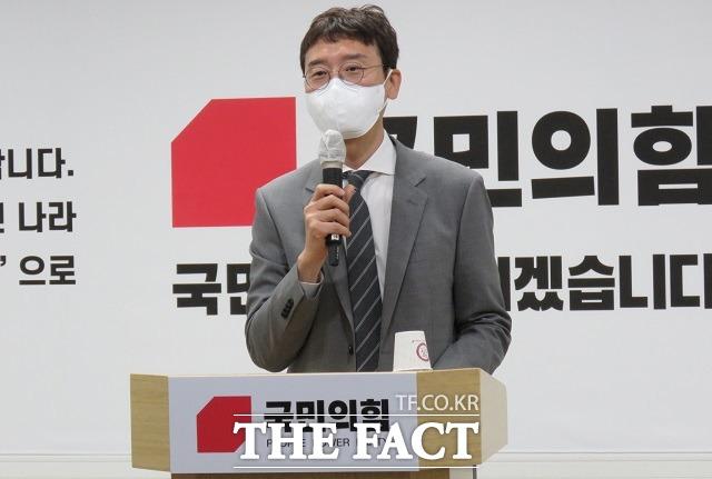 국민의힘 당권 주자로 나선 김웅 의원이 26일 대전을 찾아 간담회를 진행하고 있다. / 김성서 기자