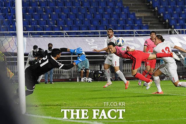 경기 초반부터 레바논을 강하게 밀어붙인 한국 대표팀.