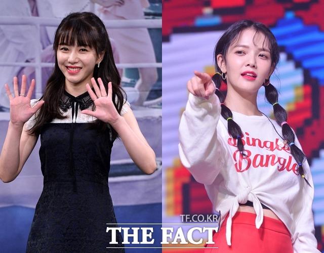 그룹 AOA 출신 배우 권민아(왼쪽)와 지민의 과거 대화록 및 카카오톡 내용이 공개됐다. /더팩트 DB