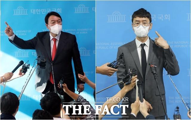 공수처는 지난 9일 윤석열 전 검찰총장(왼쪽)을 고발 사주 의혹 관련 피의자로 입건하고, 전달자로 지목된 김웅 의원은 참고인 신분으로 10일 압수수색에 나섰다. /국회사진취재단