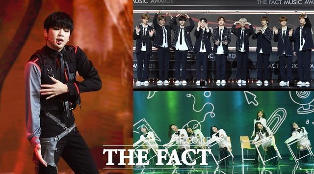 K팝 대표 남자 솔로 아티스트 강다니엘(왼쪽)과 지난해 최고의 신인으로 주목 받은 그룹 크래비티(위), 위클리(아래)가 2021 더팩트 뮤직 어워즈에 출격한다. 사진은 2020 더팩트 뮤직 어워즈 당시 모습. /더팩트 DB
