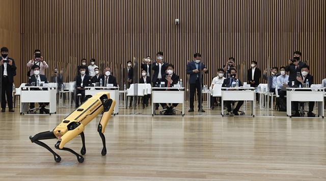 현대자동차그룹이 보스턴 다이내믹스의 4족 보행 로봇 스팟을 시연하고 있다. /현대자동차그룹 제공