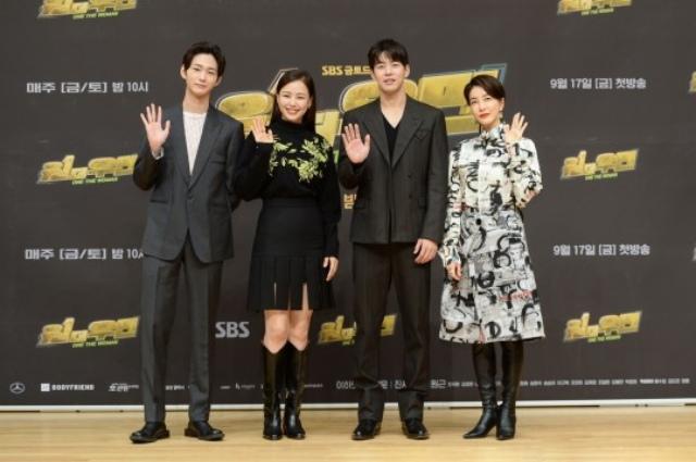 이원근, 이하늬, 이상윤, 진서연(왼쪽부터 차례대로)이 SBS 새 드라마 원더우먼은 사이다 드라마라고 자신했다. /SBS 제공
