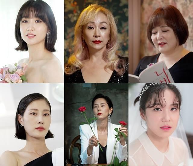 박하선 박해미 이금희 장예원 김나영 이현이(왼쪽 위부터 시계방향)은 예비 신부들의 인생 언니가 돼 위로와 공감을 선사한다. /JTBC 제공