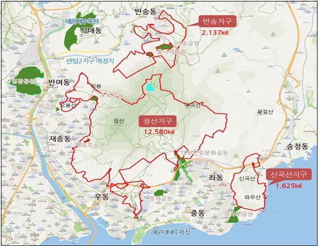 부산 해운대구 장산 구립공원 구역도. /해운대구 제공