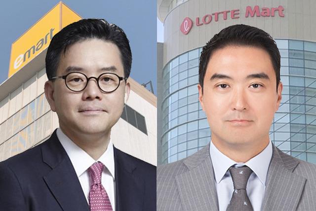 강희석 이마트 대표(왼쪽)와 강성현 롯데마트 대표가 꺼내들 하반기 경영 전략에 관심이 모인다. /편집=이민주 기자