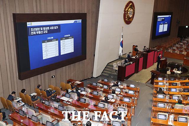 열린민주당 김의겸 의원이 이날 대정부질문에서 조선일보 사장 일가의 부동산 규모를 공개하고 있다.