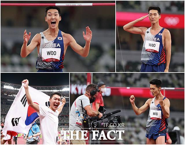 한국 육상의 희망을 보여준 우상혁. 현역 일병 신분으로 올림픽에 출전한 우상혁은 실패에도 환한 웃음과 거수경례를 했다.