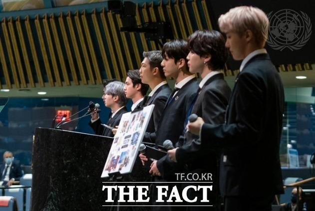 개회식에서 발언하고 있는 그룹 방탄소년단(BTS). /UN 제공