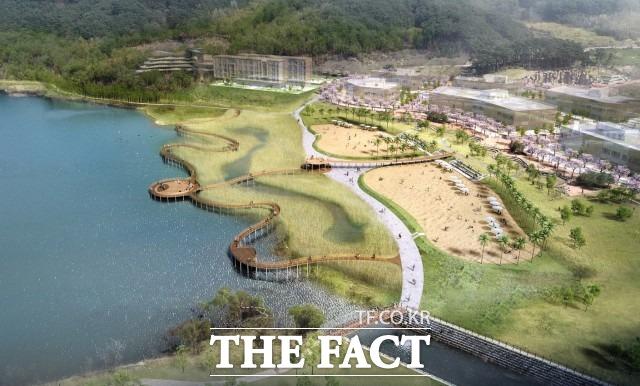 2023년도에는 내장산리조트 인접 유휴 수변공간에 5,700㎡ 규모의 낭만 모래사장과 생명의 나무 전망대, 감성 포토존, 물빛무대, 뿌리데크, 야간경관조명 등 친환경 생태 웰빙 공간을 조성할 예정으로 다양한 여가 공간 제공을 통한 관광 경쟁력 확충에 힘을 쏟을 계획이다. / 정읍시 제공