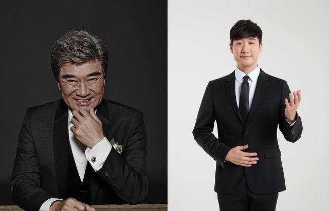 배우 이덕화(왼)와 방송인 배성재가 MBN 헬로트로트 MC로 출격해 이색 케미스트리를 보여줄 예정이다. /MBN 제공