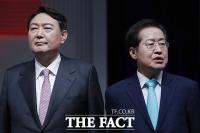 국민의힘 네 번째 TV토론회…긴장감 흐르는 윤석열-홍준표 [TF사진관]