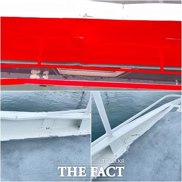 당시 거센 파도로 인한 충격과 승객들의 공포감을 말해주듯 선체 일부가 파손된 모습. /울릉=황진영 기자