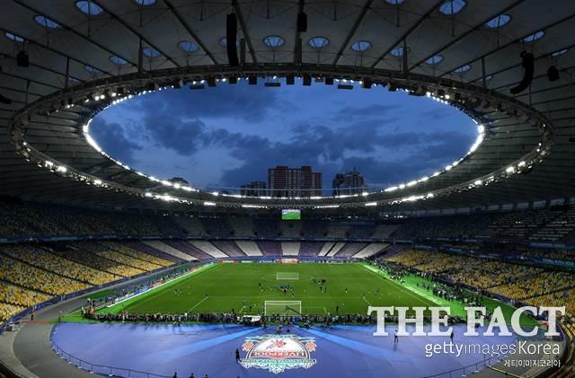 챔피언스리그 결승전이 펼쳐질 우크라이나 키예프 올림피스키 경기장의 모습. /키예프(우크라이나)=게티이미지