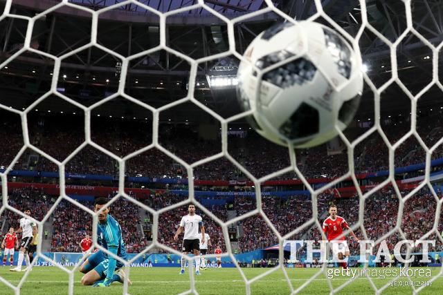 러시아의 골이 이집트의 골망을 흔드는 모습. /상트페테르부르크(러시아)=게티이미지