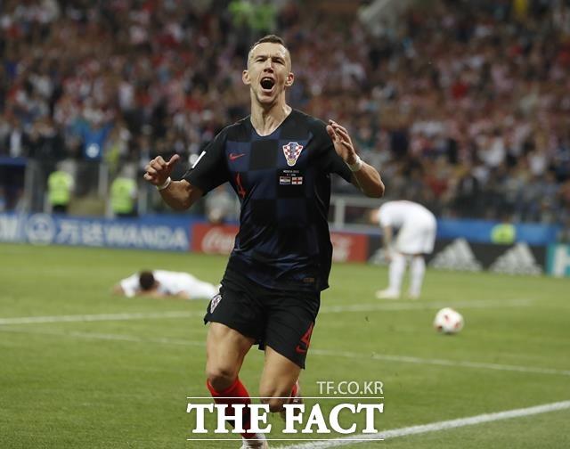 페르시치가 잉글랜드-크로아티아 경기에서 득점에 성공한 뒤 감격스러운 표정을 짓고 있다. /모스크바=AP.뉴시스