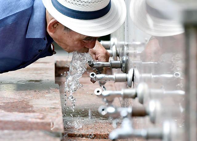 연일 찜통더위가 이어지고 있는 31일 오후 대구시 중구 달성공원 수돗가에서 폭염에 지친 시민이 물을 마시며 더위를 식히고 있다. /대구=뉴시스