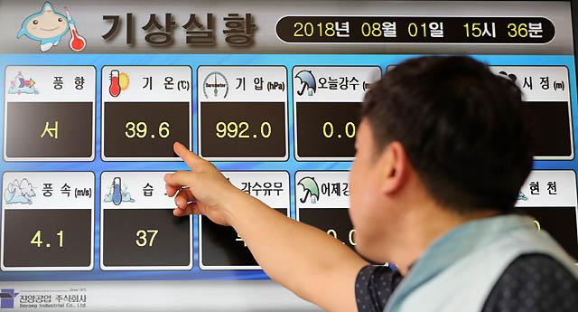 서울 최고 기온이 39.6도를 기록하면서 국내 기상관측 사상 최고치를 기록한 1일 오후 서울 종로구 송월동 공식관측소 내 모니터에 서울 기온이 표시되고 있다. /서울=뉴시스