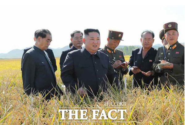 김정은 북한 국무위원장이 수산사업소를 찾아 먹거리 문제를 챙겼다.김 위원장이 지난 농지 현장지도의 모습. /노동신문.뉴시스