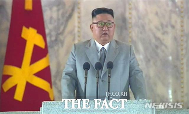 북한이 당 창건 75주년을 맞아 ICBM 발사나 적어도 SLBM 발사를 감행할 거라는 예상이 나온 바 있어 이 보다는 수위가 낮다는 평가다. 북한 조선중앙TV가 10일 오후 노동당 창건 75주년 경축 열병식을 방송하고 있다. /조선중앙TV 캡처