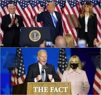 [TF사진관] '이겼다, 끝난 것 아냐'…트럼프-바이든, '개표 결과 온도차'