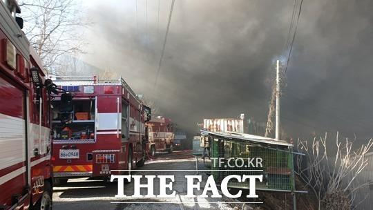 17일 오후 1시 42분경 울산 북구 시례동 한 경운기 부품 제조업체인 A산업에서 화재가 발생했다. /뉴시스